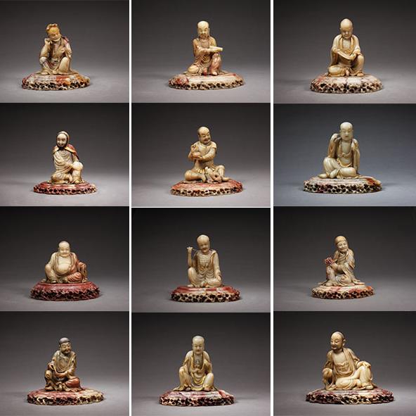 清代寿山石雕罗汉十八尊